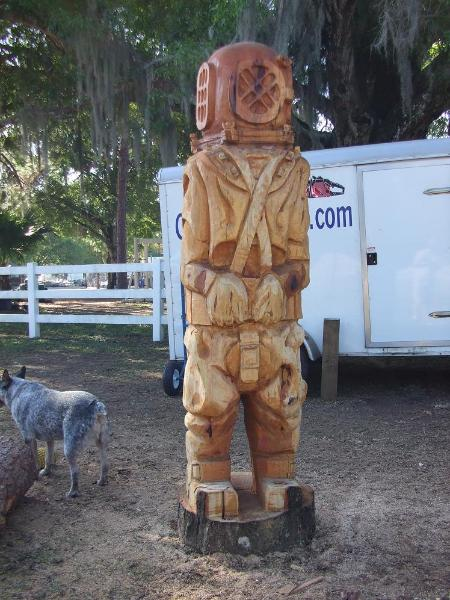 Deep Sea diver , carved from Oak