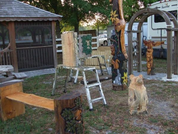 Group photo , chainsaw carvings