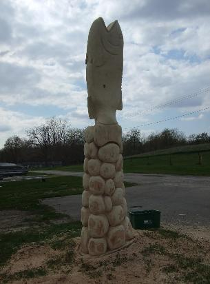 Fish stump tree carving Indiana